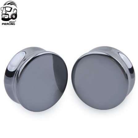 Una coppia Ear Expander Body Piercing Ematite Tunnel Gioielli Organic Flesh Tunnels Stone Ear Plugs Calibri dell'orecchio