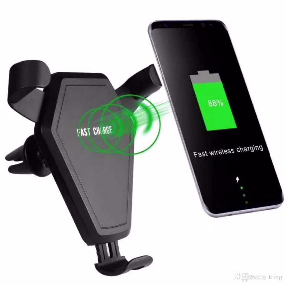 Qi Wireless Car Mount Charger Phone Holder Stand Fast Quick Charging for iPhone 8 X Samsung Galaxy S9 plus with Retail Package