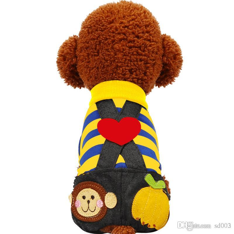 Cute Dog Clothes Spring Summer Poodle Breathable Dogs Cats Striped Black Pant Jumpsuit Rompers Pet Clothing Many Colors 16jq ZZ
