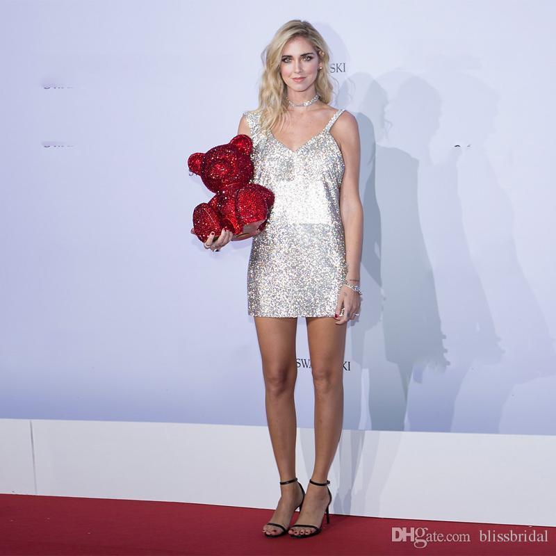 Sparkle Sequins Spaghetti Короткие Платья Платья Вечернее Платье Сексуальная V-образным вырезом Молния задние Коктейльные платья Домашние платья