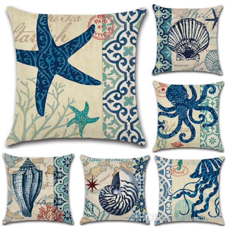European Retro Style Marine Biology Cushion Cover Sea Conch Shell House Pillow Case Linen Cotton Pillows Covers Almofada Nordic