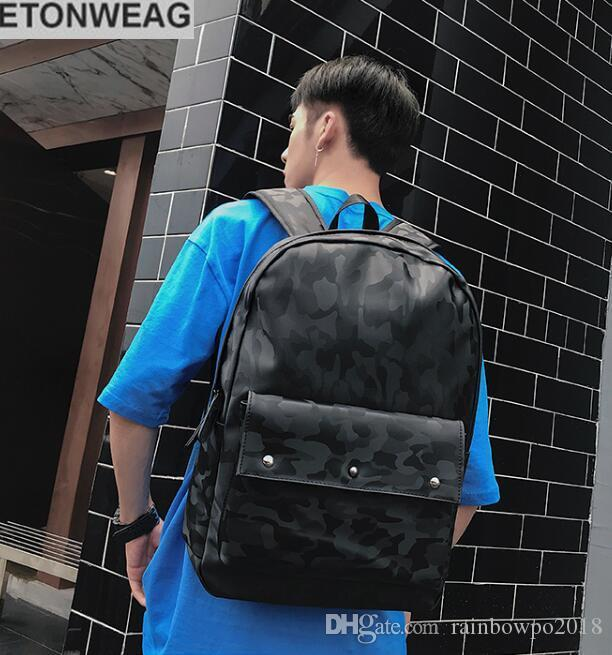 Factory direct selling brand man package fashion camouflage backpack Korean leather student computer bag outdoor camouflage leisure backpack