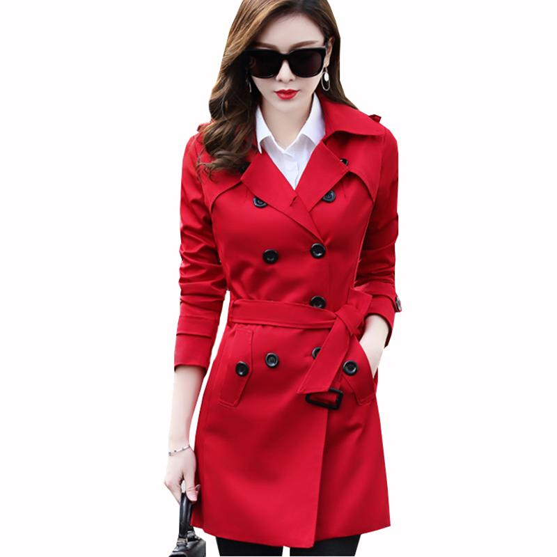 6XL New spring autumn fashion women's khaki Slim Trench Coat Double Breasted Mid-long Outerwear clothes for lady with belt ZS450