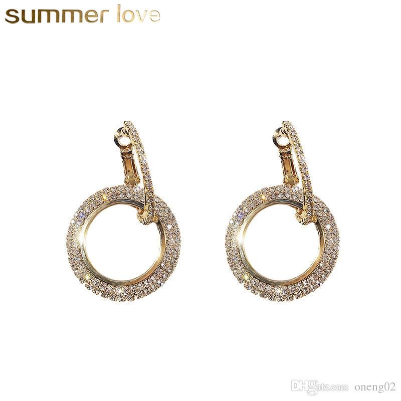 Fashion Rhinestone Round Geometric Drop Earrings For Women Jewelry Silver Gold Rose Color Handmade Statement Elegant Earrings