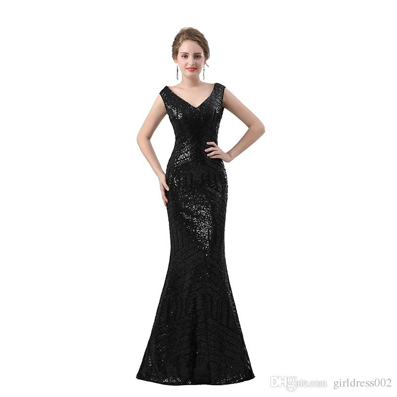 Black Sequins Mermaid Prom Dresses 2019 New V Neck Sheer Back robe de soiree Party Evening Gowns
