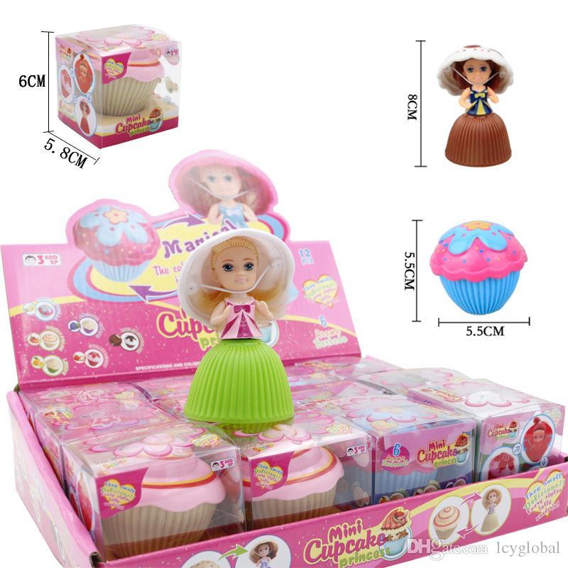 2018 12pcs/lot Mini Magical Cupcake Princess Dolls Scented Princess Doll Reversible Cake Transform to Princess Doll With Retail Box FedEx