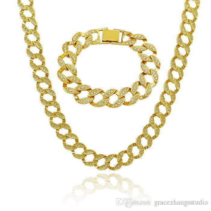 hip hop glacé chaînes de luxe designer mens chaîne en or bracelet collier bijoux ensemble hommes chaîne de tennis cubain lien chaînes bracelets colliers