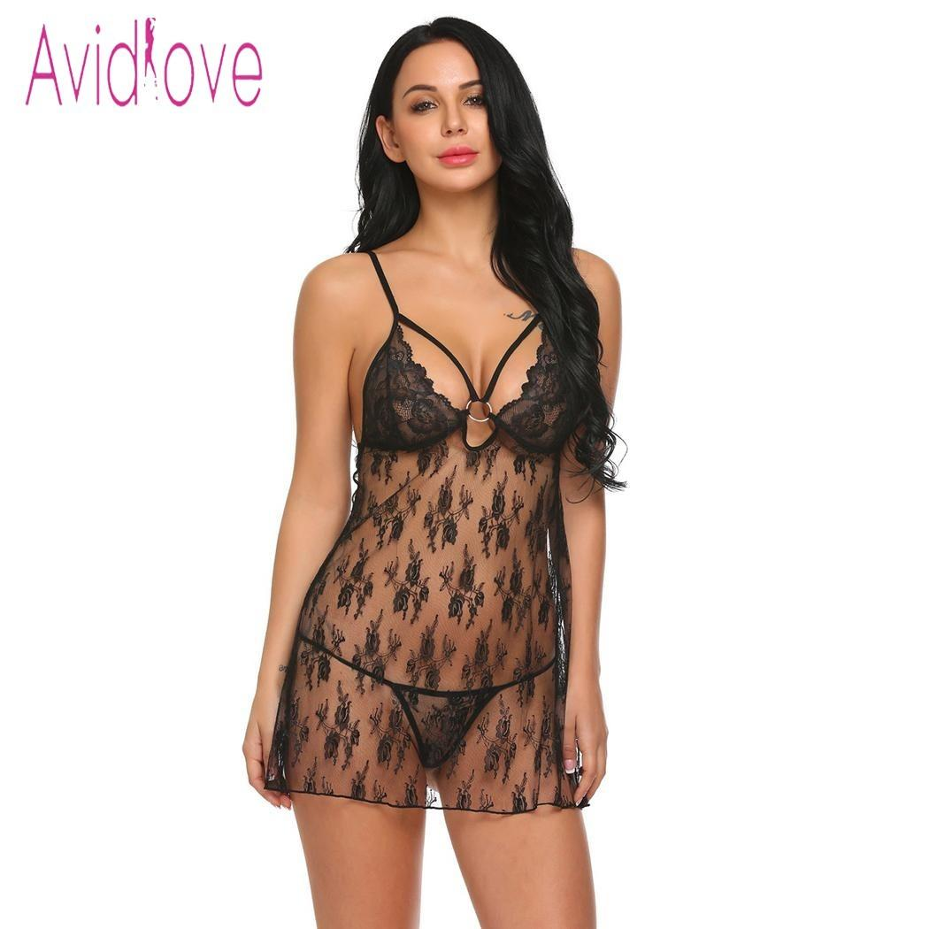 Women Lace See-through Nightdress with Belt Strap+G-string+Top Lady Nightwear US