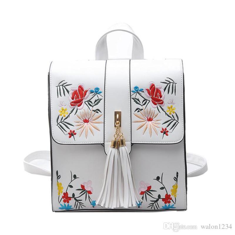 Hohe Qualität PU Stickerei Rucksack Schultaschen Für Teenager Casual Black Trave Rucksack für Frauen Freies verschiffen