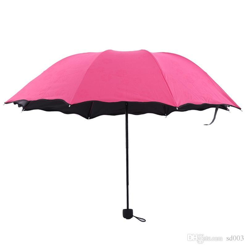 Сторона листьев лотоса всепогодный зонтик расцветает в воде ультрафиолетовое доказательство три сложенных зонтика оригинальность зонт хорошее качество 9 2hr W