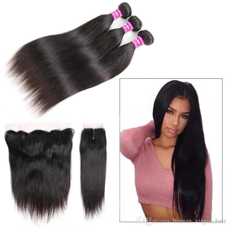 Brazilian human Hair Bundles Straight Remy Weaves with Frontal Unprocessed Bundles with Closure Accessories Bulk Human Hair Extensions Wefts