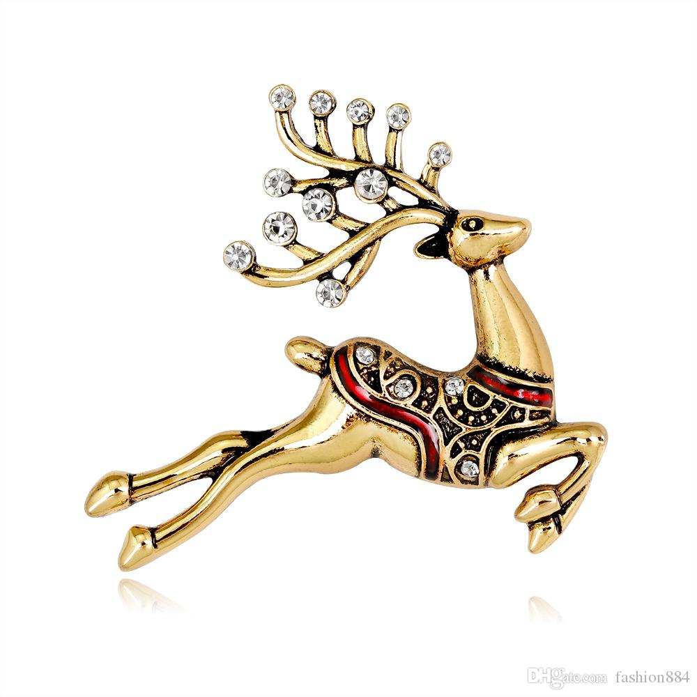 50PCS/Lot hot sell free shipping high quality vintage colored Rhinestone Christmas Gold and silver Santa Elk Brooch Pin for party/gift