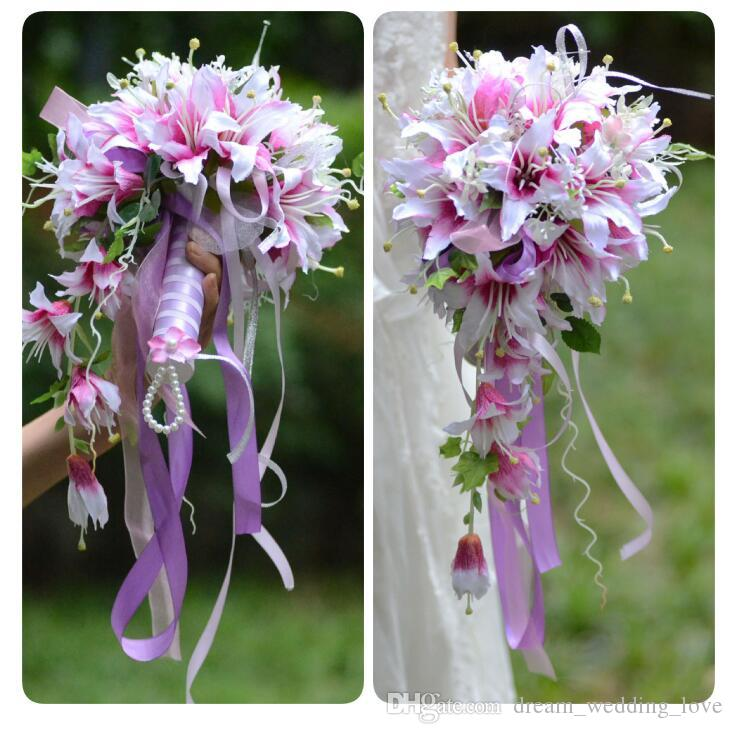 Wedding Bouquets with rattan flowers Artificial Lily rose artificial bridal flowers bride bouquet for wedding Decorations