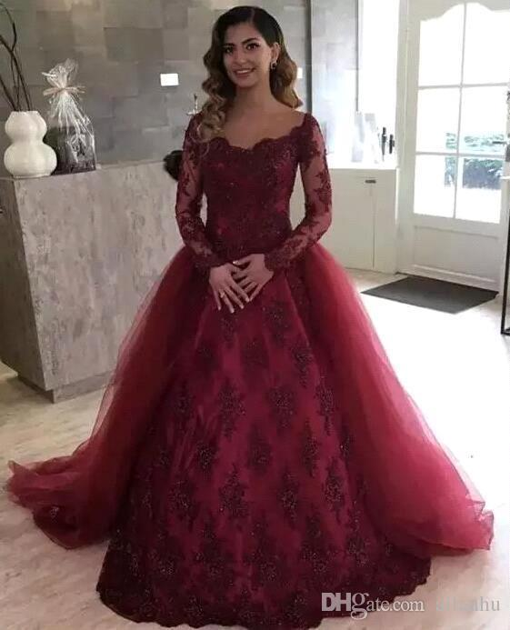 2018 Dark Red Ball Gown Prom Dresses Detachable Train Floor Length