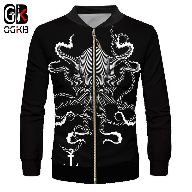 OGKB 2018 3d Cool Printed Inkfish Marine Anchor Black Jacket Windbreaker Casual Coat Long Sleeve Sweatshirt Man/women Tracksuit