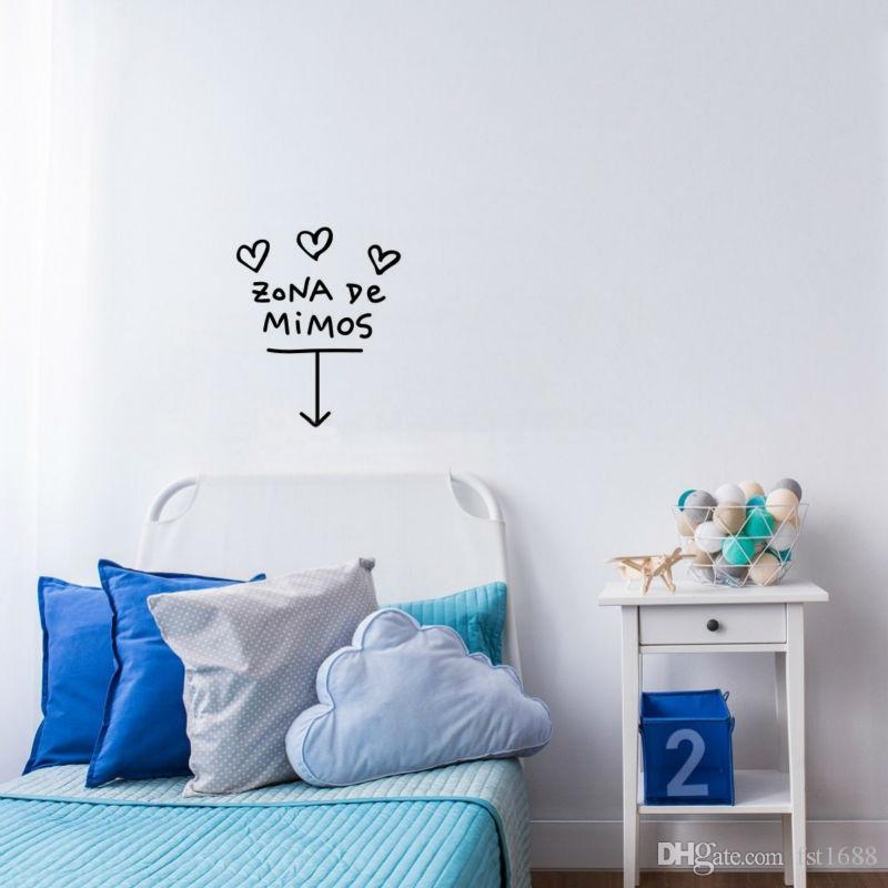Cartoon Modern Design ZONA De MIMOS Quotes Vinyl Decal Heart Wall Art Stickers Removable Text Living Room Wall Mural Decor
