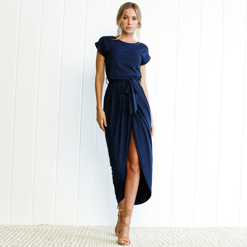 Short Sleeve Beach Sexy Wrap Dress Women Maxi Dress Summer Loose Casual Dress For Femme Plus Size Long Sun Sundress Hot Sale