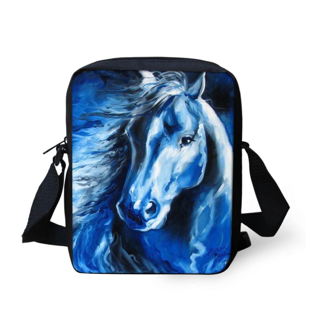 Women Messenger Bags for Teener Girls Crazy Horse Print Bolsa Feminina Cross Body Bags,Fashion Animals Students Kids school bag