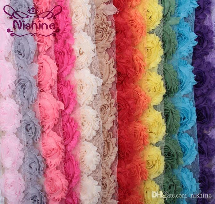 Nishine 15colors 1 Yards Chic Shabby şifon Çiçek İçin Çocuk Saç Aksesuarları 3D Kumaş Çiçek İçin DIY Bebek Headbands