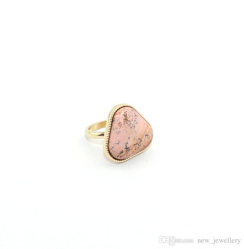 Moda Pozłacany Geometria Trójkąt Naturalny Kamienny Pierścień Dla Kobiet Biżuteria