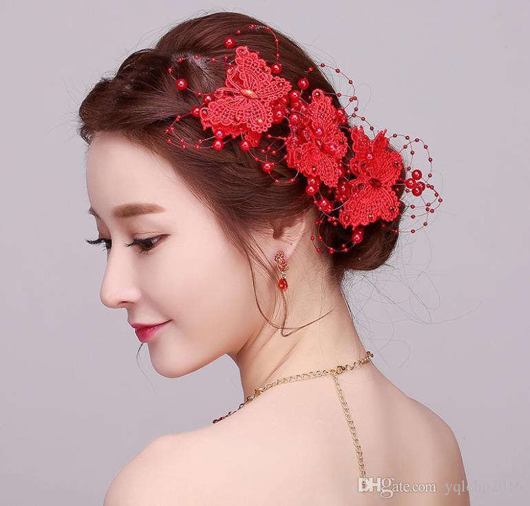 Copricapo da sposa a mano rosso a forma di fiore con ornamento per capelli