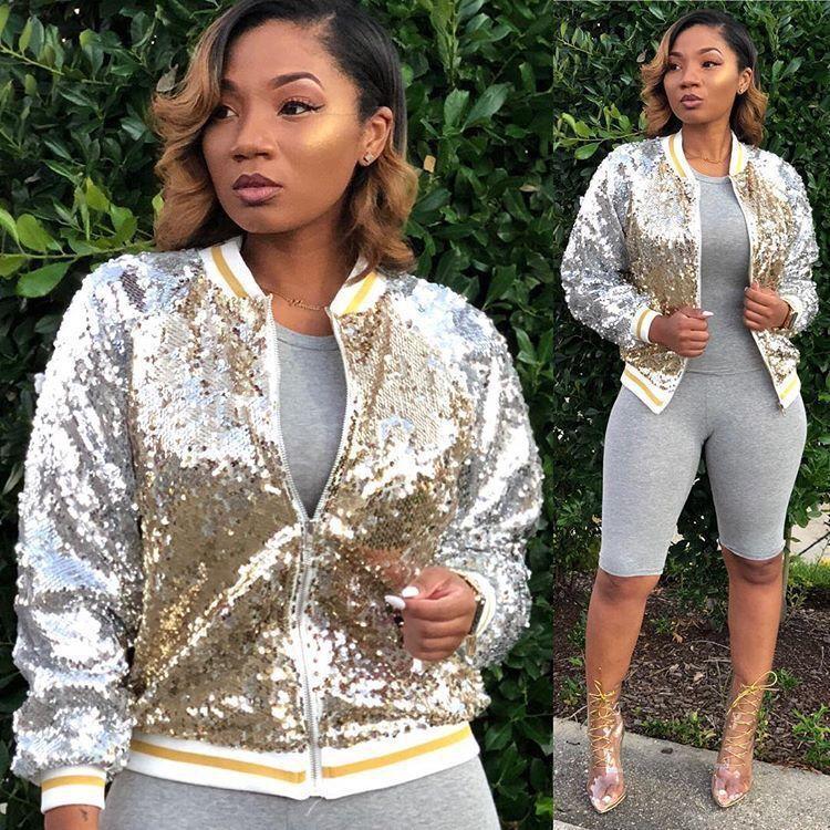 2018 Femmes De Mode Or Sequin Vestes Sexy Bling Bling Paillettes Applique À Manches Longues Fermeture À Glissière Cardigan Hiver Manteau Outwear