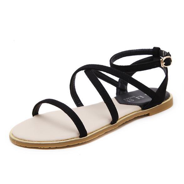 Sandálias femininas verão 2018 nova alça cruzada retro moda clássico Roman one-button estudante sandálias flat
