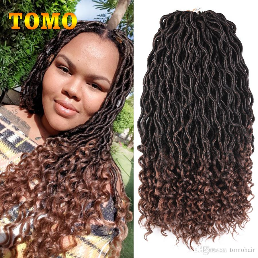 2019 Crochet Braids Goddess Faux Locs Curly Braids Kanekalon Synthetic  Dreadlocks Ombre Brown/Burgundy Braiding Hair Extensions 24 Strands/Pack  From