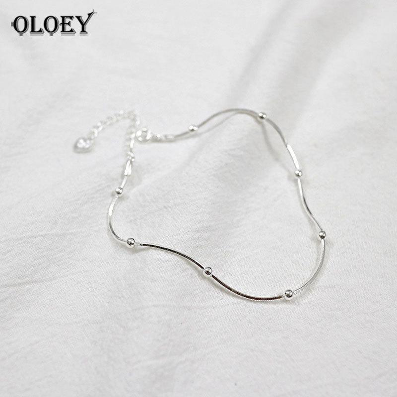 OLOEY Real 925 Sterling Silver Anklet For Women Simple Snake Chain Beaded Ankle Bracelet Fine Jewelry Gifts Drop Shipping YMA001 S18101607