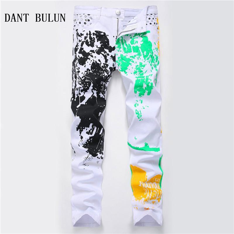 2018 Yeni Erkek Boyalı Jeans Beyaz Moda Düz Skinny Erkek Casual Biker Denim Pantolon Pantolon Artı boyutu yazdır