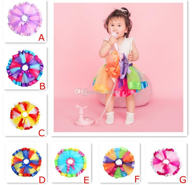 0-10Y INS Girls Rainbow Tutu Dresses skirts New Kids Newborn Lace Princess Skirt Pettiskirt Ruffle Ballet Dancewear Skirt Holloween Clothing