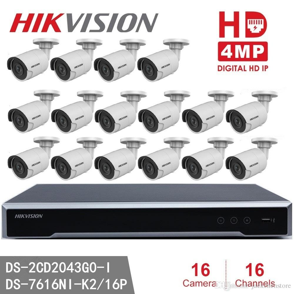 Hikvision NVR DS-7616NI-K2/16P 16CH 16 ports POE + 16pcs Hikvision DS-2CD2043G0-I 4MP IR Bullet Network Camera P2P POE IP Camera
