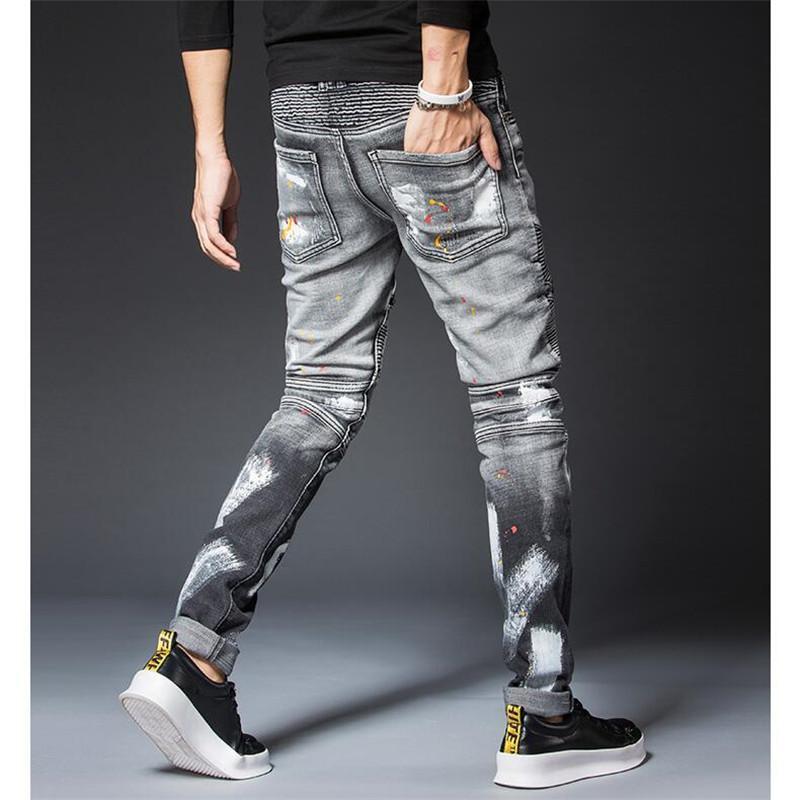 Acquista Designer Jeans Uomo Moda Strappato Jeans Skinny Uomo Casual Sottile Mens Regular Fit Biker Dritto Jean Pantaloni Pantaloni A5275 A $70.28 Dal
