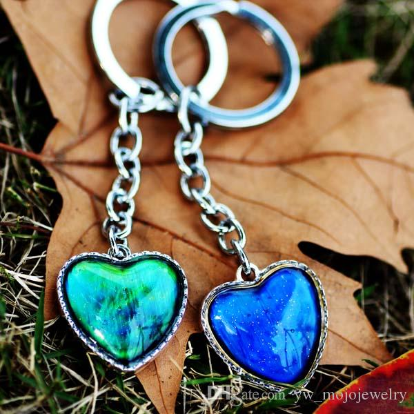 Beautiful and Popular Silver Plated Alloy Mood Heart Stone Keychain Womens Best Bag Decoration Key Chain