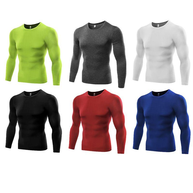 Мужские футболки тренажерный зал одежда сжатия полиэстер фитнес рубашка с длинными рукавами быстро сухой футболки B5021 спортивный Майка