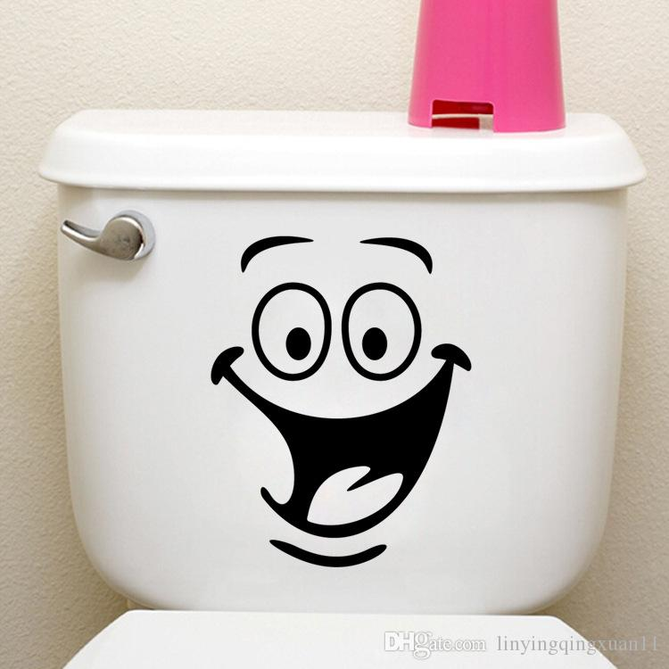 1 pz volto sorridente bagno adesivi murali wc decorazione della casa impermeabile adesivi murali per toilette adesivo decorativo pasta decorazioni per la casa