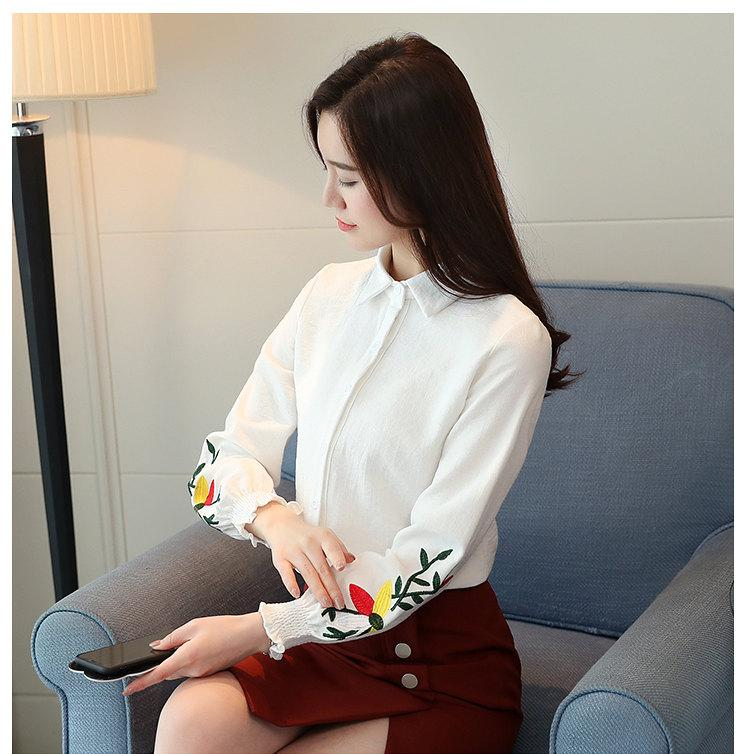 Women\`s Autumn Embroidery Tops 2019 Casual Long Sleeve Female Blouses Work Wear Corduroy Shirts Elegant Office Blusa Mujer Camisas (9)