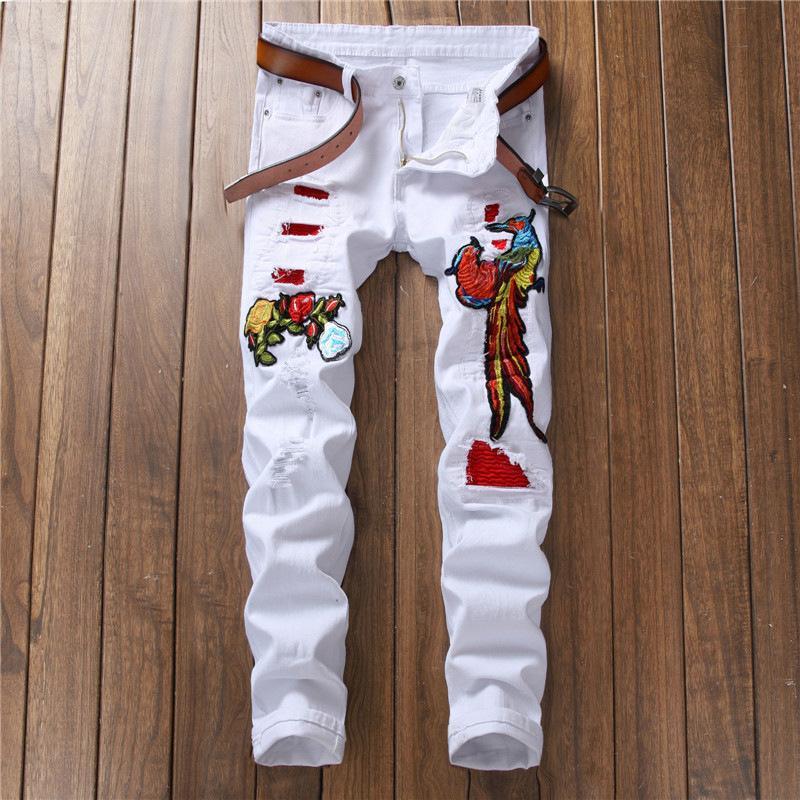 Yüksek Kaliteli Tasarımcı 2018 Erkekler Kot Çiçek Nakış Beyaz Punk Yırtık Düz Hip Hop Pantolon Pantolon Adam Kot Streetwear