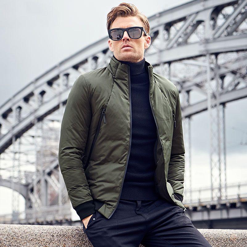 Cotton Padded Jacket coat Men Parka black 2 color solid coat Thick Quilted fashion Coat Men