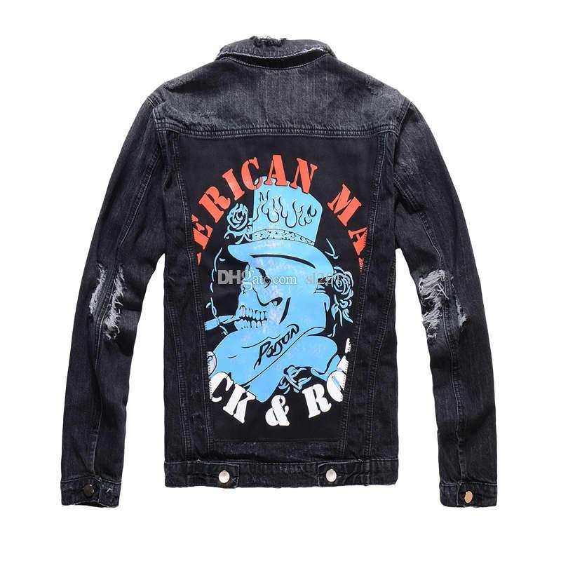 designer Luxury mens Embroidery Graffiti pattern Tiger Moto Biker Black Denim Tiger embroidery pattern jeans Jacket Coats Hip Hop Streetwear