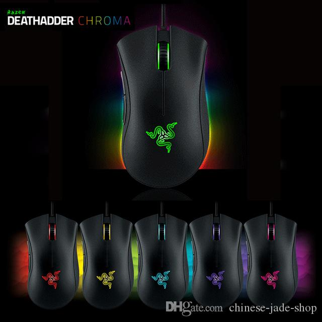 Not original Razer Deathadder Chroma USB Wired Optical Computer Gaming Mouse 10000dpi Optical Sensor Mouse Razer Deathadder Gaming Mice 6PCS