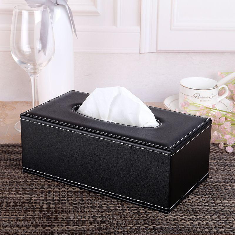 Rectangle PU Leather Tissue Towel Box Cover Fashion Table Napkin Paper Box For Car Home Decor