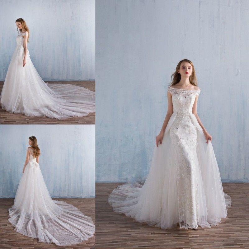 2018 Sheer Bateau Neck Vestido De Casamento Elegante Tule Rendas Applique Lantejoulas Brilhantes Vestidos de Noiva Com Saia Destacável