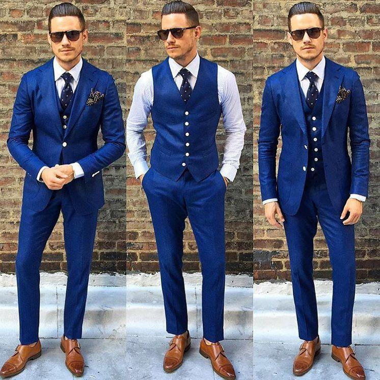 2018 Hot Sale Royal Blue Mens Suit For Wedding Three Pieces Cheap Groom Tuxedos Slim Fit Custom Made Formal Party Suits(Jacket+Pants+Vest)