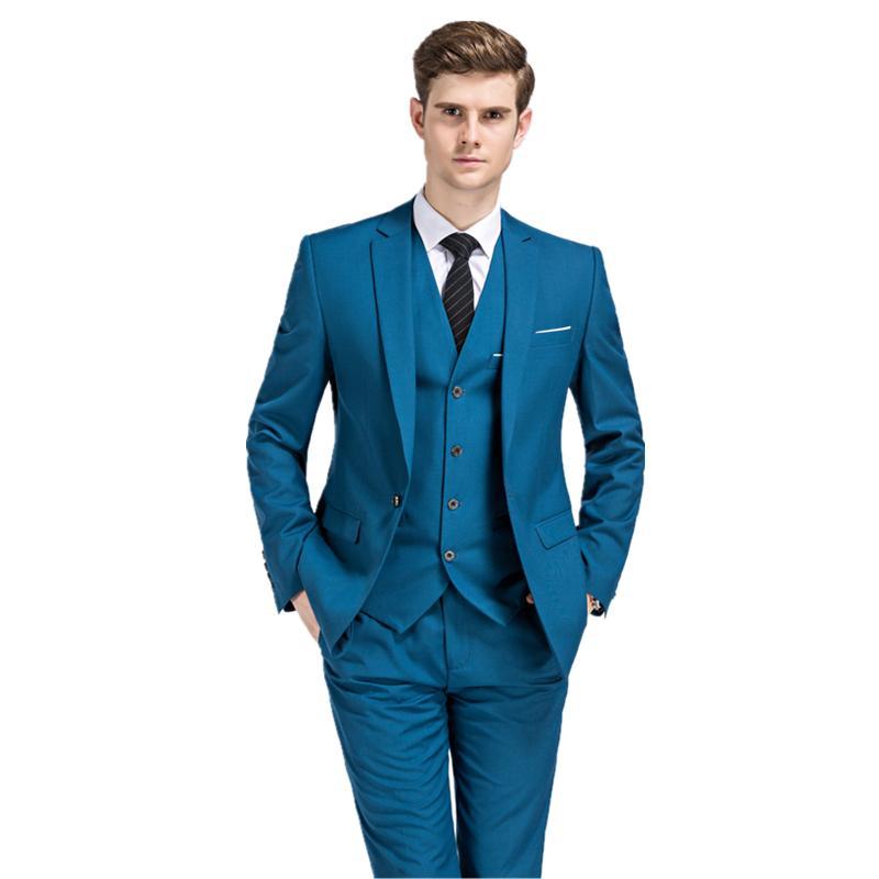 2018 new seasons style men boutique suits business casual slim groom wedding dress three piece suit (Jacket+Pants+Vest) S-3XL