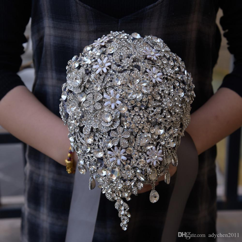 Luxury Cascading Bridal Bouquets Waterfall Teardrop Bouquet Silver Brooch Bouquet Wedding Accessories Jewelry Crystal Cascade Bouquet