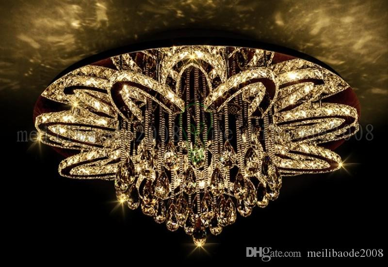 Dia 100cm Creative Personality Luxury Round Stainless Steel Ceiling Lamps LED K9 Crystal Lights Lighting For Bedroom Dining Room Living Room