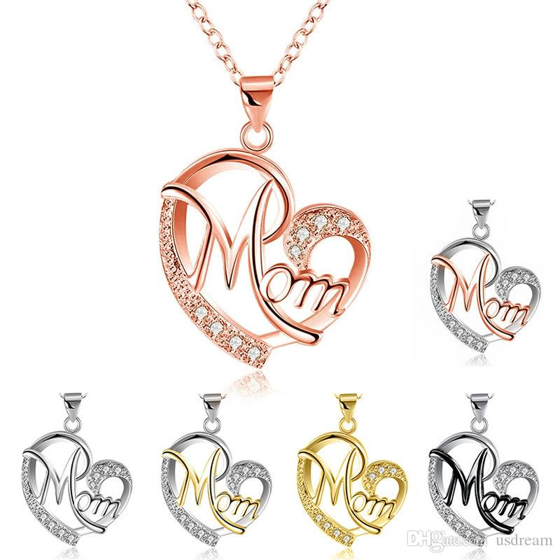 Contrast Color Crystal Heart Mom Necklace Pendant Diamond Fashion Love Jewelry Mother Birthday Day Gift Will and Sandy Drop Ship 380076