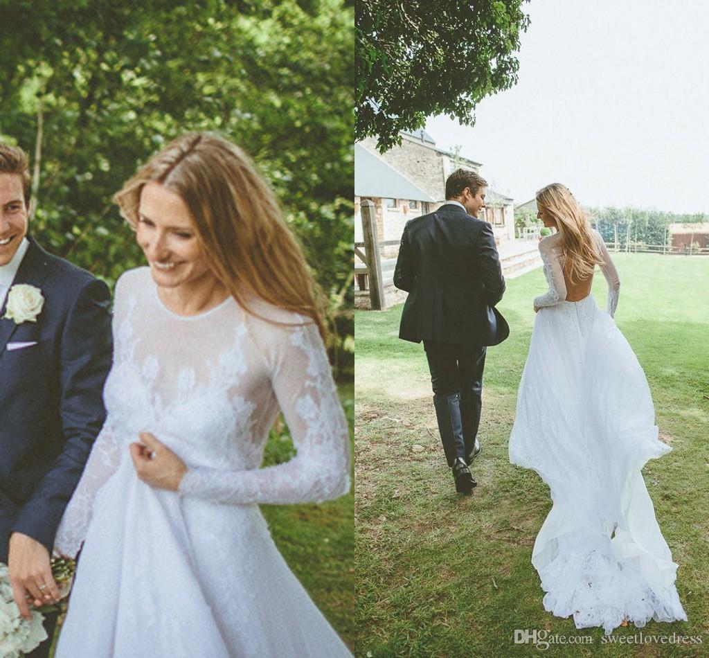 2018 Encantador Vestidos de Casamento Com Manga Lace Ilusão Backless Applique Sheer vestido de novia Vestidos De Baile De Noiva Custom Made