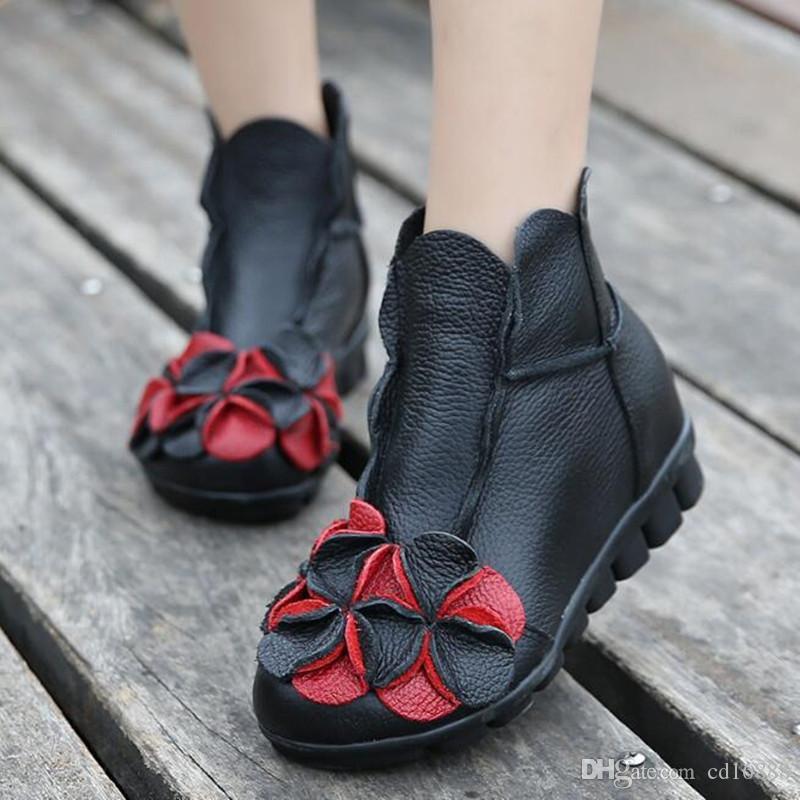 Sıcak 2018 Yeni bahar Moda El Yapımı Rahat Yumuşak Hakiki Deri Çizmeler Düz kaymaz Ayak Bileği Çizmeler Kadın ayakkabı Artı Kadife Kış Çizmeler